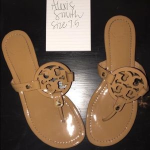 Tory Burch Patent Leather Miller Sandal in Sand